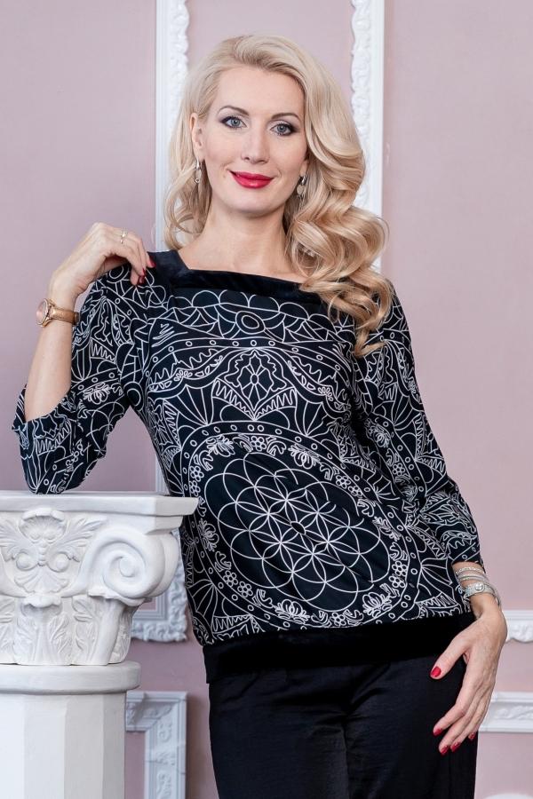 Шелковая блузка с бархатом  «Цветок Души»
