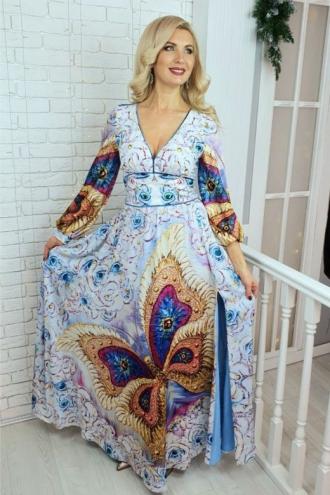 """Шикарное шелковое платье с принтом энергокартины """"Бабочка"""""""