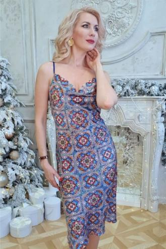 """Шёлковое платье на бретельках с Мандалой """"Исполнения желаний"""""""