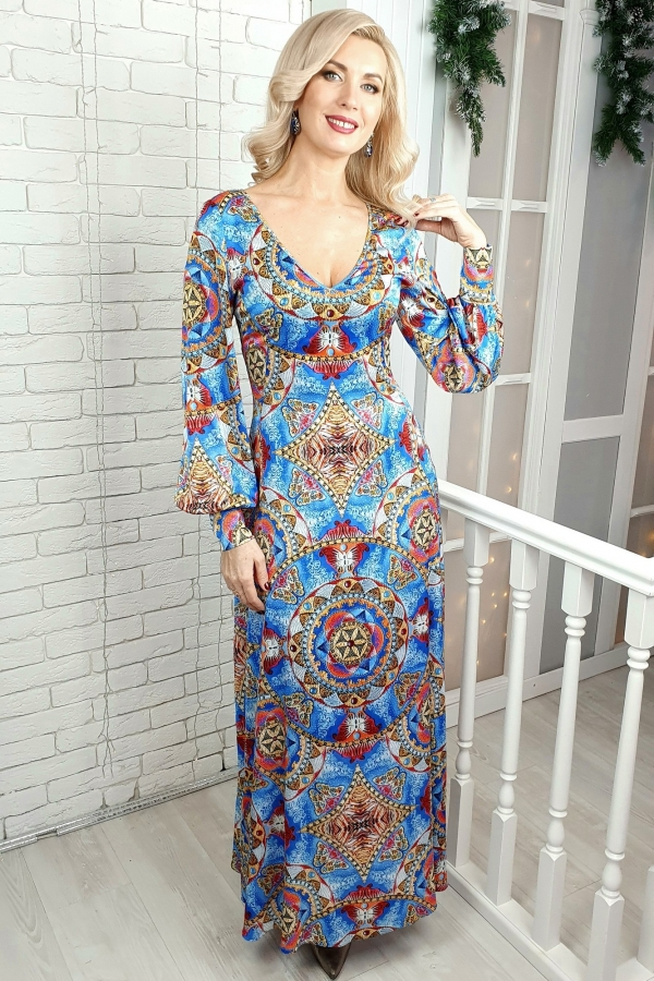 """Волшебное шелковое платье с принтом картины """"Раскрытие женской энергии"""""""